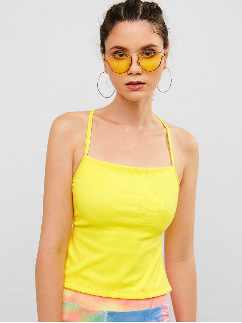 Camisola sin espalda acanalada cruzada acanalada - Amarillo L Mobile