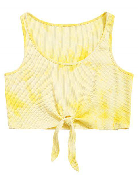 ZAFUL Knot Tie Dye camiseta de tirantes acanalada - Amarillo M Mobile