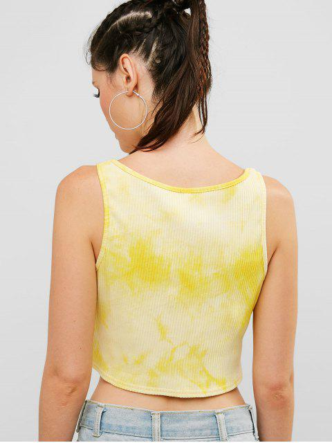ZAFUL Knot Tie Dye camiseta de tirantes acanalada - Amarillo L Mobile