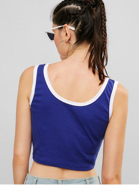ZAFUL Ribbed Gym Crop Ringer Tank Top - Azul Profundo L Mobile
