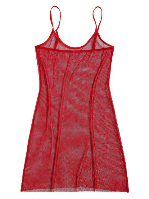 ZAFUL Fishnet See Thru Cami Bodycon Vestido - Rojo S Mobile