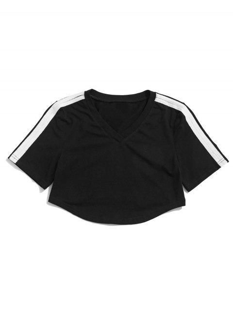 Camiseta ZAFUL V Neck Contrast Crop Gym - Negro S Mobile
