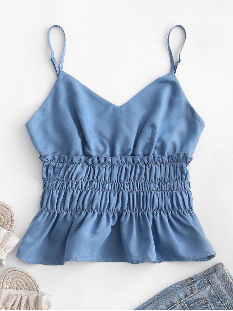 ZAFUL Cami Top de Babado Franzido - Azul Denim M Mobile