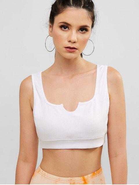 ZAFUL Crop U Neck Tank Top de punto - Blanco M Mobile
