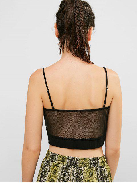 ZAFUL Mesh See Thru Crop Camisole - Negro M Mobile