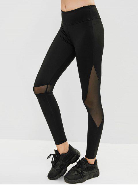 new Mesh Insert Skinny Gym Leggings - BLACK M Mobile