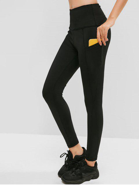 Leotardos ajustados de cintura alta con bolsillo oculto - Negro M Mobile