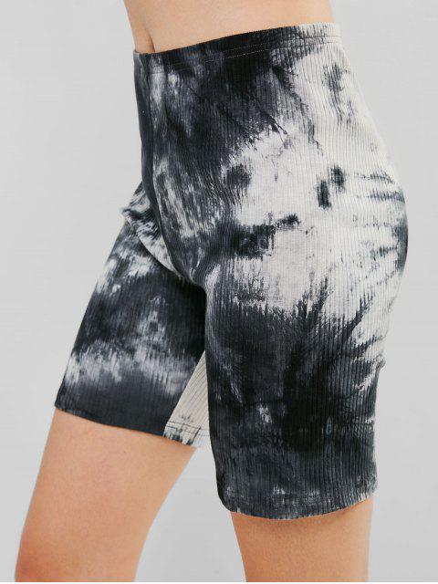 ZAFUL Ribbed Tie Dye Skinny Biker Shorts - Negro L Mobile