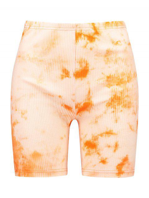 ZAFUL Ribbed Tie Dye Skinny Biker Shorts - Mango Naranja L Mobile