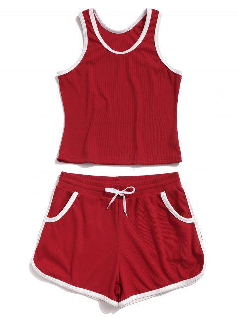 ZAFUL Racerback Pocket Drawstring Ringer Shorts Set - Rojo M Mobile