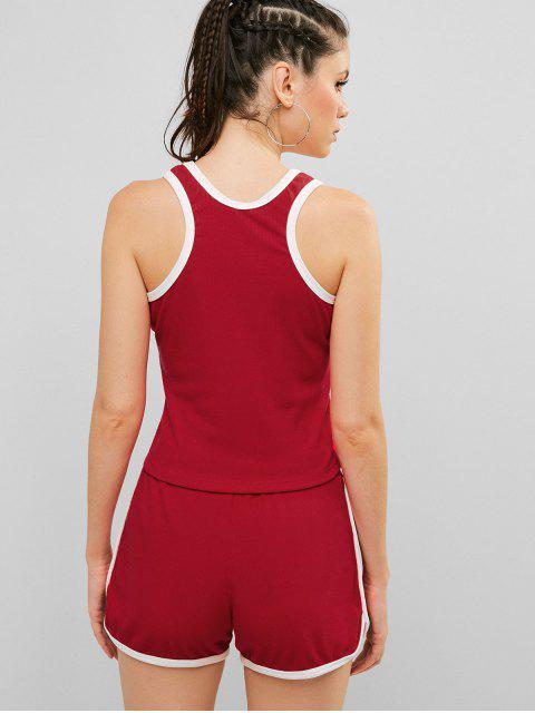 ZAFUL Racerback Pocket Drawstring Ringer Shorts Set - Rojo S Mobile