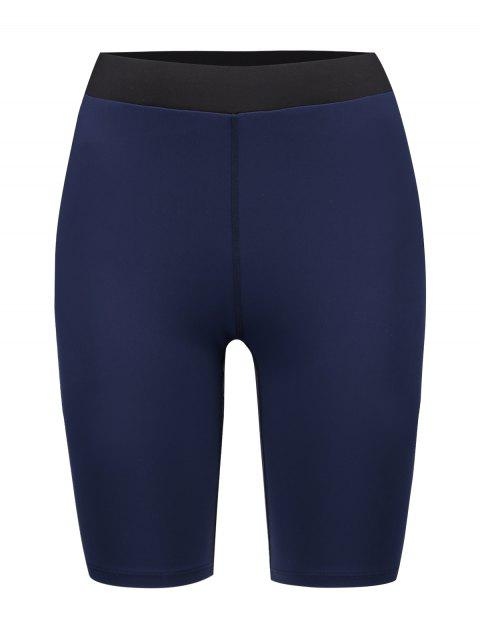 ZAFUL Color Block Skinny Biker Shorts - Cadetblue L Mobile