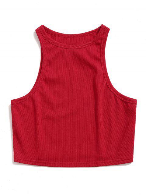 ZAFUL camiseta deportiva sin mangas de canalé liso - Rojo M Mobile