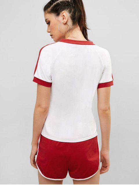 Conjunto de camiseta y shorts con cuello en V de ZAFUL - Rojo M Mobile