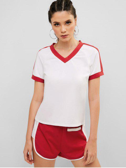 Conjunto de camiseta y shorts con cuello en V de ZAFUL - Rojo L Mobile