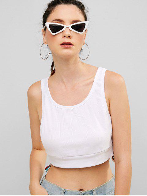 ZAFUL Ribbed Shiny Stripes camiseta deportiva sin mangas - Blanco S Mobile
