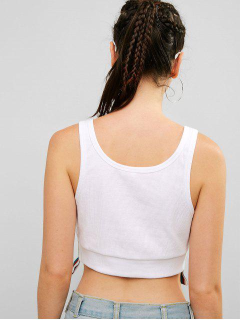 ZAFUL Ribbed Shiny Stripes camiseta deportiva sin mangas - Blanco L Mobile