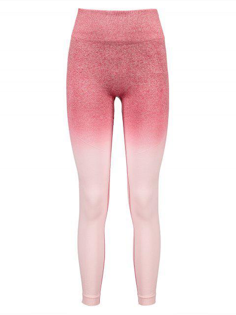 Leotardos de cintura ancha con tinte espacial de Ombre - Rosado S Mobile