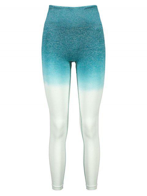 Leotardos de cintura ancha con tinte espacial de Ombre - Aguamarina Mediana M Mobile