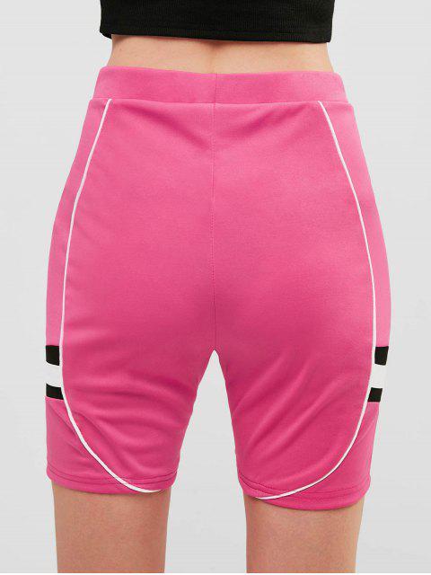 Pantalones cortos pitillo de cintura alta en contraste - Rosa Brillante L Mobile
