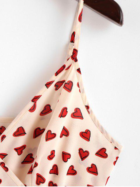 trendy ZAFUL Hearts Graphic Flounce Cami Wrap Dress - APRICOT S Mobile