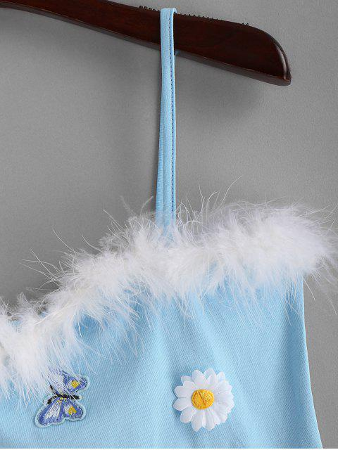 Camiseta de cami peludo parcheada de flor de mariposa - Celeste S Mobile