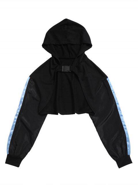 Abrigo corto con hebilla en contraste con capucha corta - Negro S Mobile