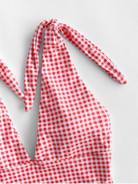 ZAFUL Knot Plunge Gingham Bañador de una pieza - Rojo Lava S Mobile