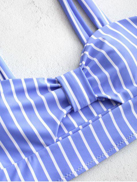 Conjunto Tankini de talle alto a rayas con nudo ZAFUL - Celeste L Mobile