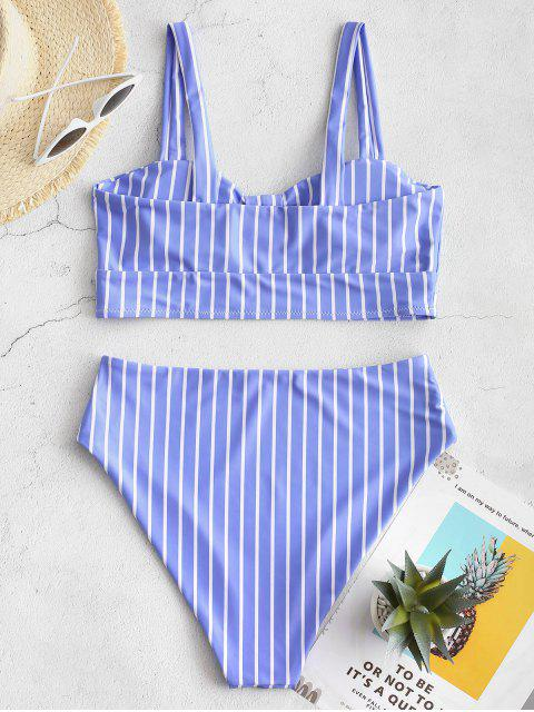 lady ZAFUL Knot Striped High Waisted Tankini Set - SKY BLUE S Mobile
