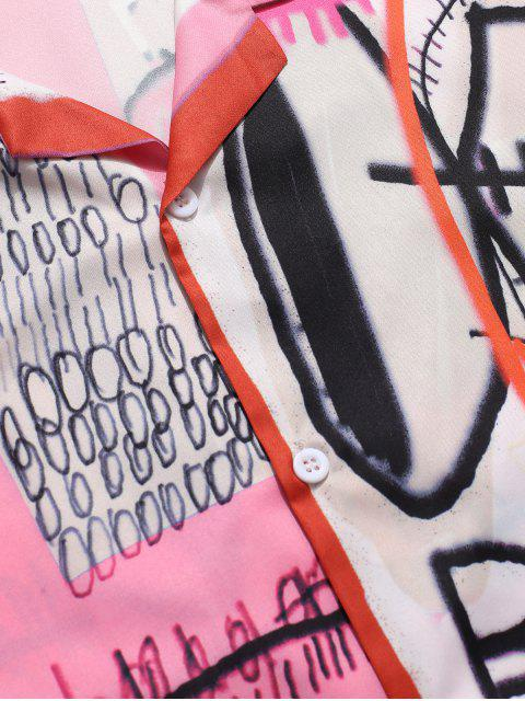 new Letters Painting Graphic Print Casual Shirt - BLUSH RED M Mobile