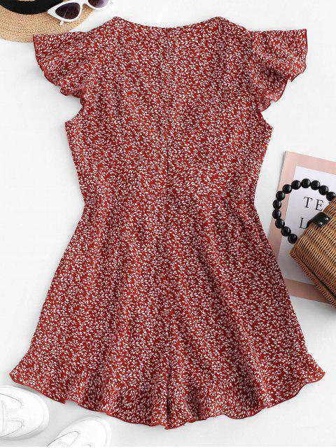 sale ZAFUL Lace Up Tiny Floral Surplice Romper - CHESTNUT RED S Mobile
