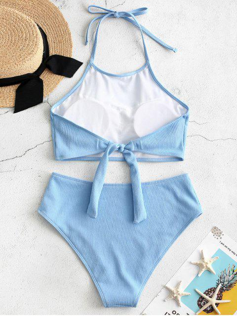 outfit ZAFUL High Neck Ribbed Tankini Set - LIGHT BLUE S Mobile