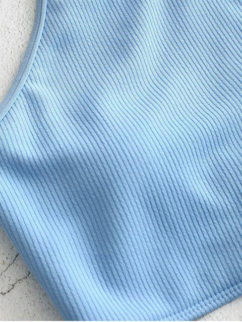 hot ZAFUL High Neck Ribbed Tankini Set - LIGHT BLUE M Mobile