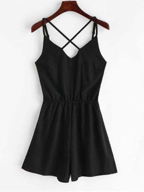 sale Elastic Waist Criss Cross Cami Romper - BLACK M Mobile