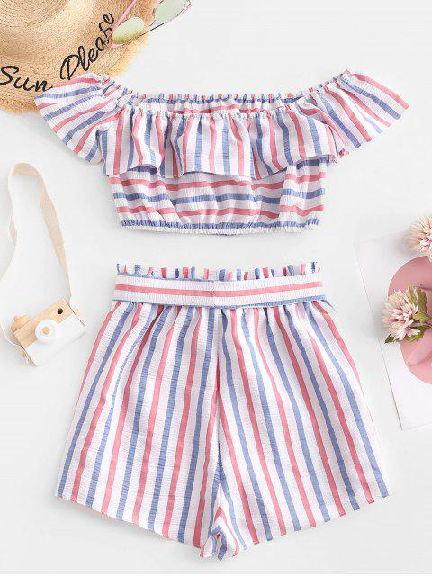 best ZAFUL American Flag Stripes Off Shoulder Two Pieces Set - MULTI S Mobile