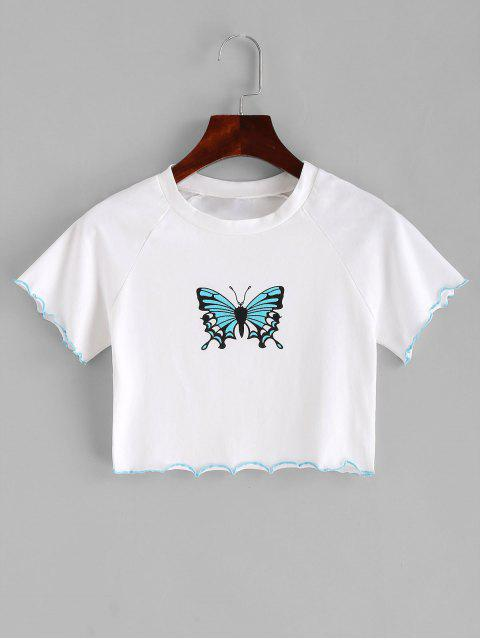 ladies Lettuce Trim Butterfly Crop Tee - WHITE S Mobile
