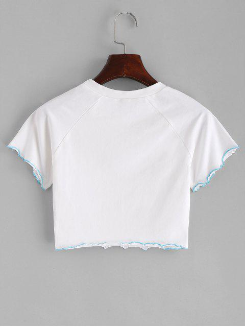 sale Lettuce Trim Butterfly Crop Tee - WHITE M Mobile