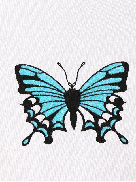 レタストリム蝶のクロップTシャツ - 白 L Mobile