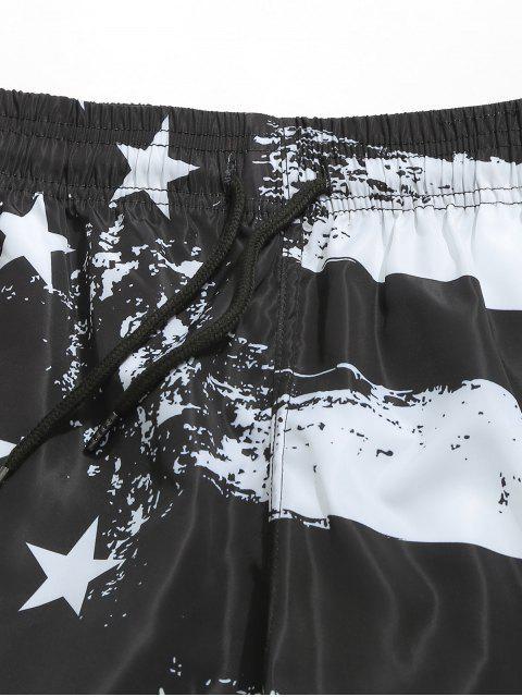 Pantalones cortos de tablero de lazo con estampado de bandera americana - Negro M Mobile
