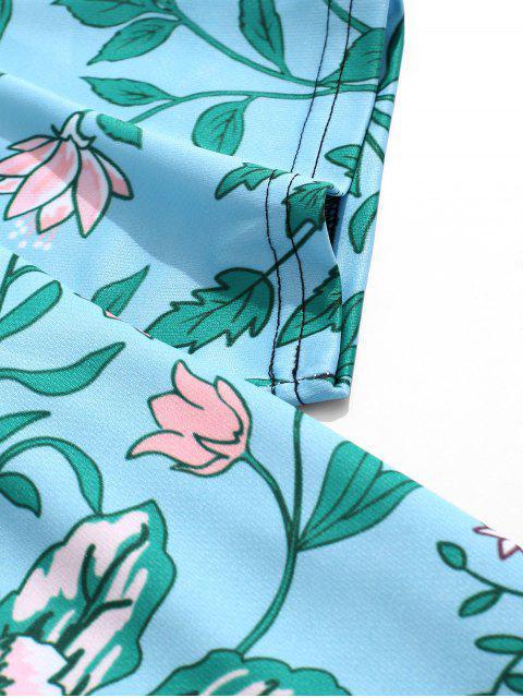ladies Flower Allover Print Beach T-shirt - DARK TURQUOISE 4XL Mobile