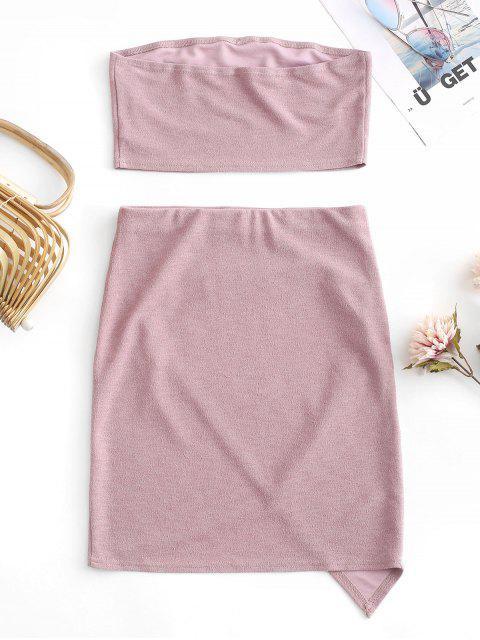outfits ZAFUL Glitter Strapless Asymmetrical Skirt Set - ROSE S Mobile