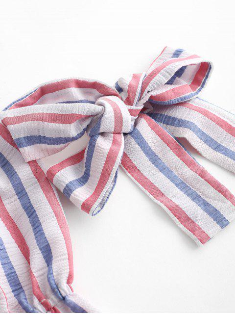 ladies ZAFUL Knotted Stripes Off Shoulder American Flag  Romper - MULTI S Mobile