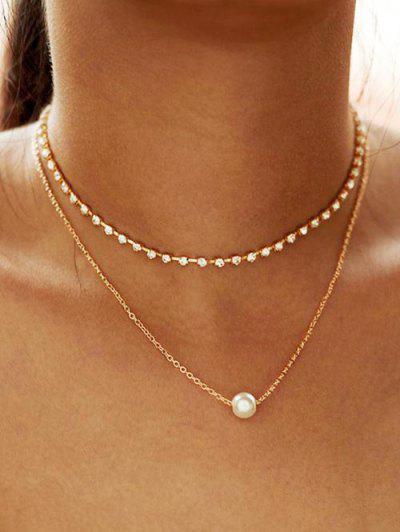 Collier Superposé En Fausse Perle En Alliage Avec Strass - Or