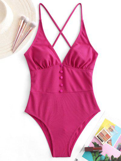 ZAFUL Button Crisscross Ribbed One-piece Swimsuit - Rose Red Xl