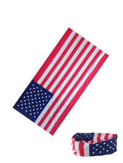 American Flag Riding Circle Head Scarf - Rosso Red