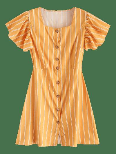 Ruffles Button Up Stripes Mini Dress, Yellow