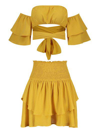 64c7303470a6 ... ZAFUL Off Shoulder Top And Smocked Layered Skirt Set - Sun Yellow M