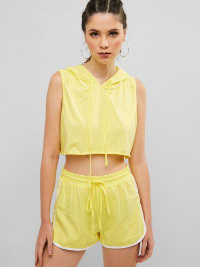 b7ffcd0d2a2e ZAFUL Hooded Crop Tank Top And Dolphin Shorts Set - Yellow M ...