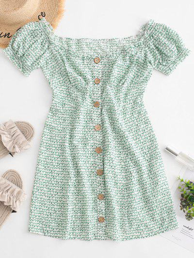 ZAFUL Off Shoulder Button Up Frilled Mini Dress